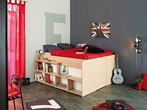 Parisot 1531lico Bett-Space _ UP Eiche Baltimore/weiß Holz