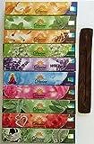 Gift Set of 10 Nag Champa Sandalwood Patchouli Rose Lavender Jasmine Healing Love White Sage Money Drawing Incense Kit(incense Holder Included)
