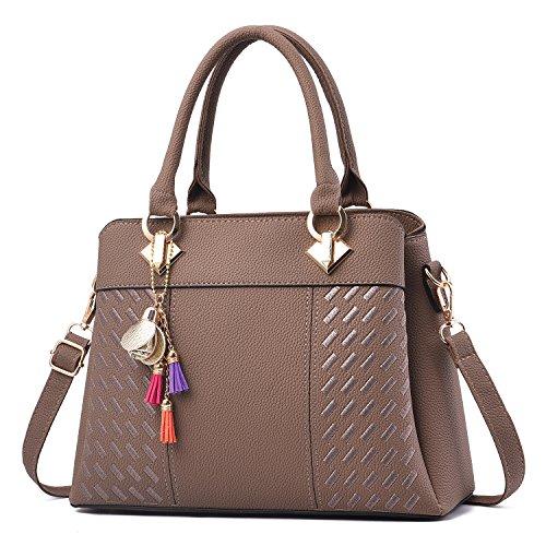 PU Tote Shoulder Leather Brown Top Handbags Women's Bags Barwell Handle wEFICC
