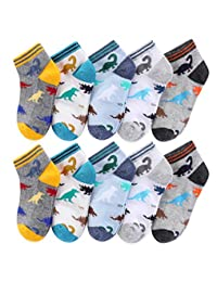 CHUNG Boys Cotton Socks 5/10 Pack Low Cut Ankle Dinosaur Mesh 2-9Y Thin Light Weight Back School