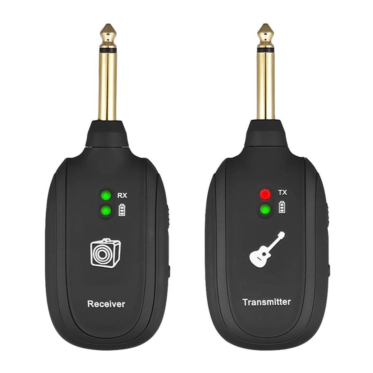 Wireless Guitar System, Wireless Guitar Transmitter Receiver 4 Channels Audio Transmitter Receiver for Electric Guitar Bass Violin