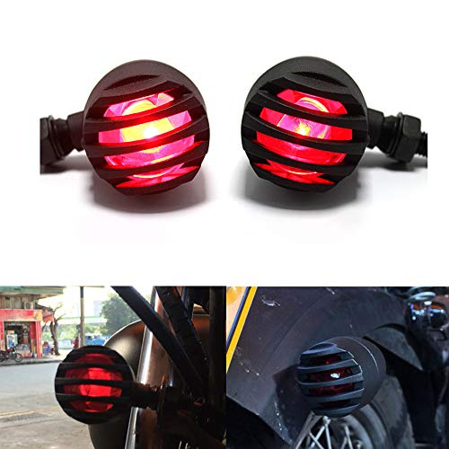 (2pcs Motorcycle Black Bullet Front Rear Turn Signal Blinker Indicator Light (Red)