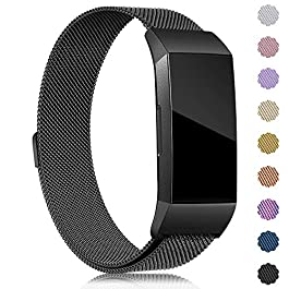 Find-MyWay Replacement Compatible with Charge 3 Bands/Charge 3 SE Metal Bands Wristband Accessory Magnetic Breathable Sport Bracelet Strap Small & Large for Women Men Silver Rose Gold 10 Colors