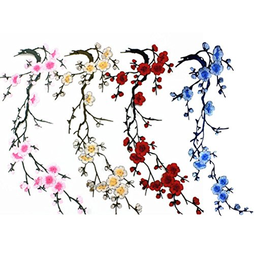 LIGONG 4 Pieces Flowers Iron on Patches,Embroidery Sew Iron On Applique for Bags Jackets Trim,Beige Plum - Migi Blossom
