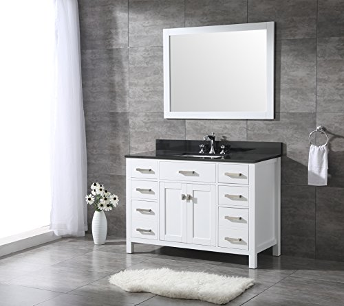 All-Wood Diamond White Shaker Vanity - Complete (48-inch, Black Granite (Complete Vanity)