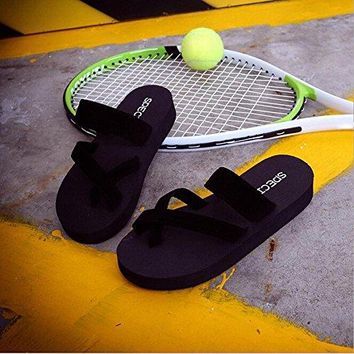 Ftxj Flip Flops, Femmes Casual Sandales Slip-on Plate-forme Plate Pantoufle Plate Dété Chaussures De Plage Noir