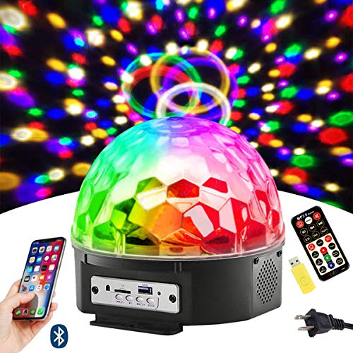 Disco Ball Party Lights 9 Colors LED Bluetooth Stage Lights Sound Activated Rotating Light with Remote MP3 Play and USB for Home KTV Xmas Wedding Decorations Karaoke Dance Light