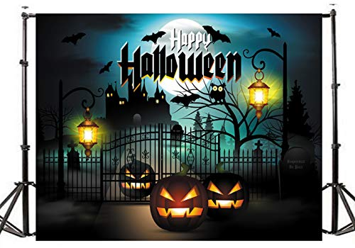 (TMOTN 7x5ft Happy Halloween Moon Pumpkins Castle Lamps Party Decorations Photography Backdrop Photo Booth Background D1962)