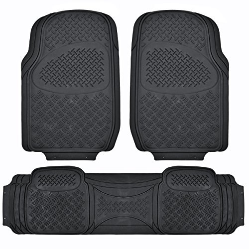 BDK MaxDuty Rubber Floor Mat for Car, SUV,Van & Truck - Super Heavy Duty Rubber , Trim to Fit & 3 Piece - Trimmed Placemats