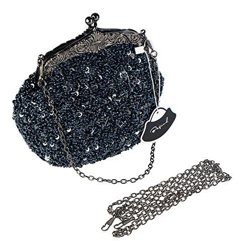 Handbag Clutches Evening Women's Bagood Bags Grey Shoulder Dark Bag Vintage Purses SEITwqYw