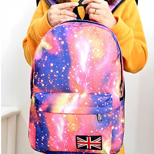 Minetom Lona Backpack Mochilas Escolares Mochila Escolar Casual Bolsa Viaje Moda Estrellas Nebulosa Universo Mujer Negro