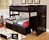 Discovery World Furniture Twin Over Full Staircase Bunk Bed with 3 Drawer Storage, Espresso For Sale