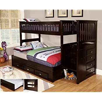 Discovery World Furniture Twin Over Full Staircase Bunk Bed With 3 Drawer Storage Espresso