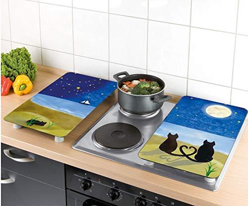 Wenko 2521140500 Cubiertas de Cocina Universal Gatos - Juego de 2 Piezas para Todos los Tipos de cocinas, Vidrio - Vidrio endurecido, 30 x 1,8-4,5 x ...