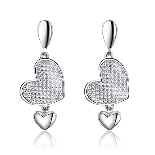 EURYNOME 925 Sterling Silver Crystal Double Love Heart Dangle Drop Earring Set Jewelry Sets Women Girl (Heart Designer Double Crystal)