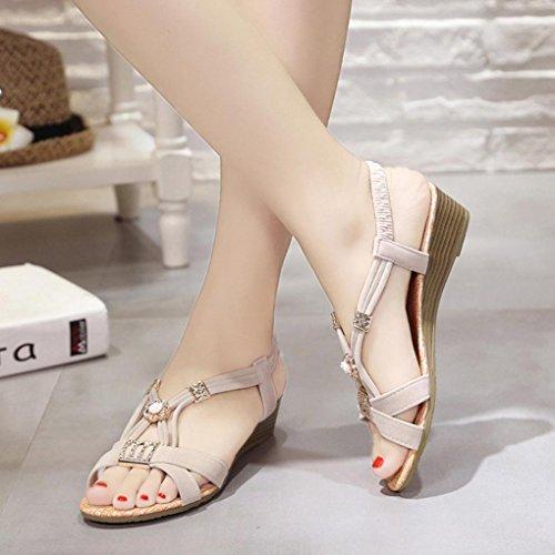 abalorios sandalias Lady Toe Sandalias zapatos ocio Mujeres Blanco zapatos de Mujer Peep exterior Bohemia LMMVP cuñas Verano PzP1xqY