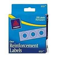 Etiquetas de refuerzo autoadhesivas Avery Clear, redondas, paquete de 200 (5721)