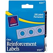 Avery Hole Reinforcements, 1/4 Diameter, 200/Pack