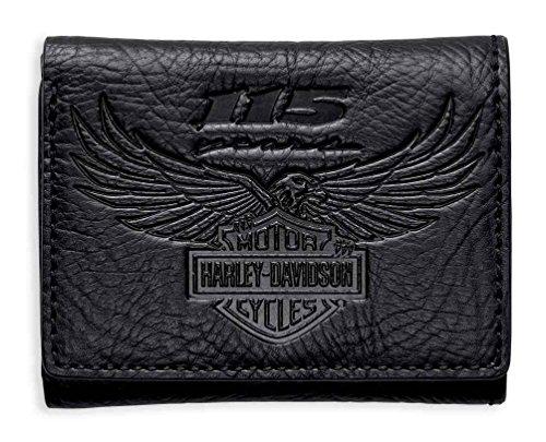 Harley-Davidson Men's 115th Anniversary Tri-Fold Wallet, Black 99414-18VM (Mens Harley Davidson Wallets)