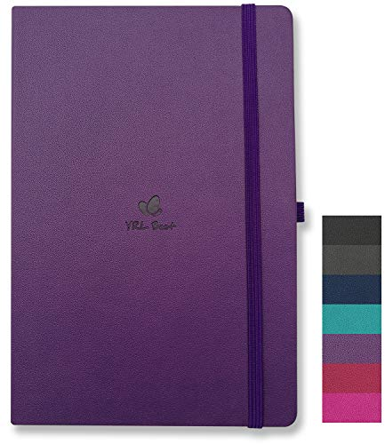 YRL Best A5 Hardcover Notebook Journal with Pen Loop, College Ruled/Lined, 5.7x8.3', 192 Numbered Pages of Premium Thick Paper, Fine PU Leather, Sewn Bound, Elastic Closure, Lays Flat, Purple