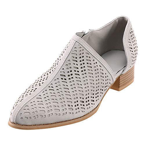 ONLY TOP Women's Casual Slip On Loafer Pointed Toe Cut Out Slip On Office Casual Dressy Ankle Boot Grey ()