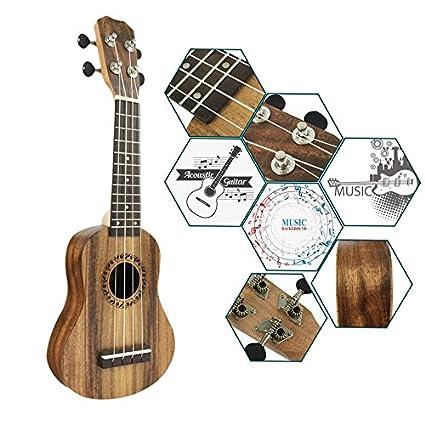 Ukelele de madera de acacia de 43,18 cm, mini guitarra hawaiana, 4