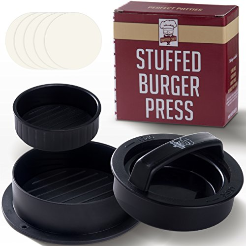 Non Stick Hamburger Press Patty Maker + 40 Wax Paper Discs, Easy to Use, Dishwasher Safe, Works Best for Stuffed Burgers, Sliders, Regular Beef Burger, Essential Kitchen & Grilling Accessories