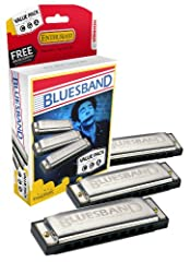This great hohner blues band harmonica starter kit gives you three different key harmonicas (G, a, & C) in one package. Harmonica features brass reeds, plastic body and stainless steel covers. All you need to start playing blues, rock, co...