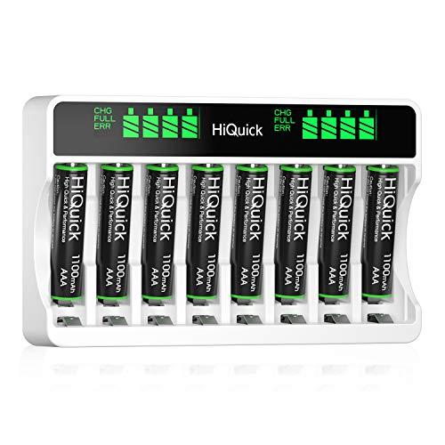 HiQuick Akku Ladegerät mit AAA Akku 8 Stück, für Mignon AA, Micro AAA NI-MH wiederaufladbar Batterien, 8-Ladeplatz mit LCD Anzeige HiQuick Akku aa aaa ladegerat mit AAA Akku 8 Stück