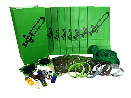 Pixel Party Toys Miner-Themed Party Favor Bags (8-Pack) - Birthday Party Supplies Kit Includes Goody Bags, Stickers, Wristbands, Mini Character Toys, Balloons and One Bonus Pair of - Of Sunglass List Brands