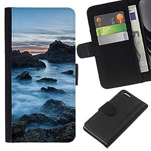 YiPhone /// Tirón de la caja Cartera de cuero con ranuras para tarjetas - Rocas Nubladas - Apple Iphone 5C