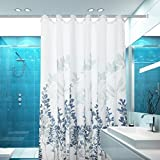 Mohap Shower Curtain 72 by 72 inch with Leaves Pattern Waterproof Dacron Fabric Antibacterial with 12 Curtain Hooks White and Blue