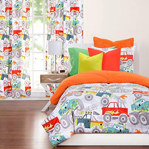 2 Piece Kids Monster Trucks Comforter Twin Set, Vibrant Fun All Over Red Blue Black White Four Wheelin Truck Themed Bedding, Reversable Orange, Microfiber (Black And Blue And Red All Over)