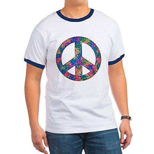 Royal Lion Ringer T-Shirt Peace Symbols Inside Tye Dye Symbol - Navy/White, (Dye Ringer)