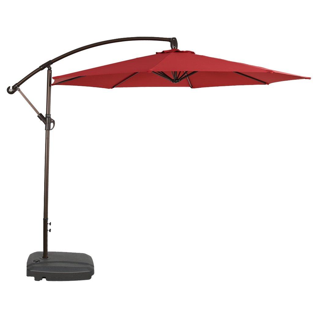 Iwicker 10 Offset Hanging Patio Umbrella Outdoor Market Cantilever Umbrella Crank Lift, Red
