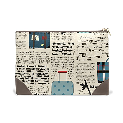 Genuine Leather Newspaper Travel Toiletry Organizer Travel Bag Beauty Personal Care Makeup Case Purse Luggage Gear 7.48 x 1.57 x 5.3 Inches (Newspaper Leather)