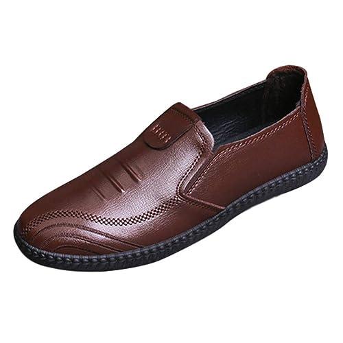 Yudesun Zapatos para Hombre Mocasines - Náuticos Plano Ligero Confortable Suela Blanda Cuero Casual Moda Zapatos de Conducir: Amazon.es: Zapatos y ...