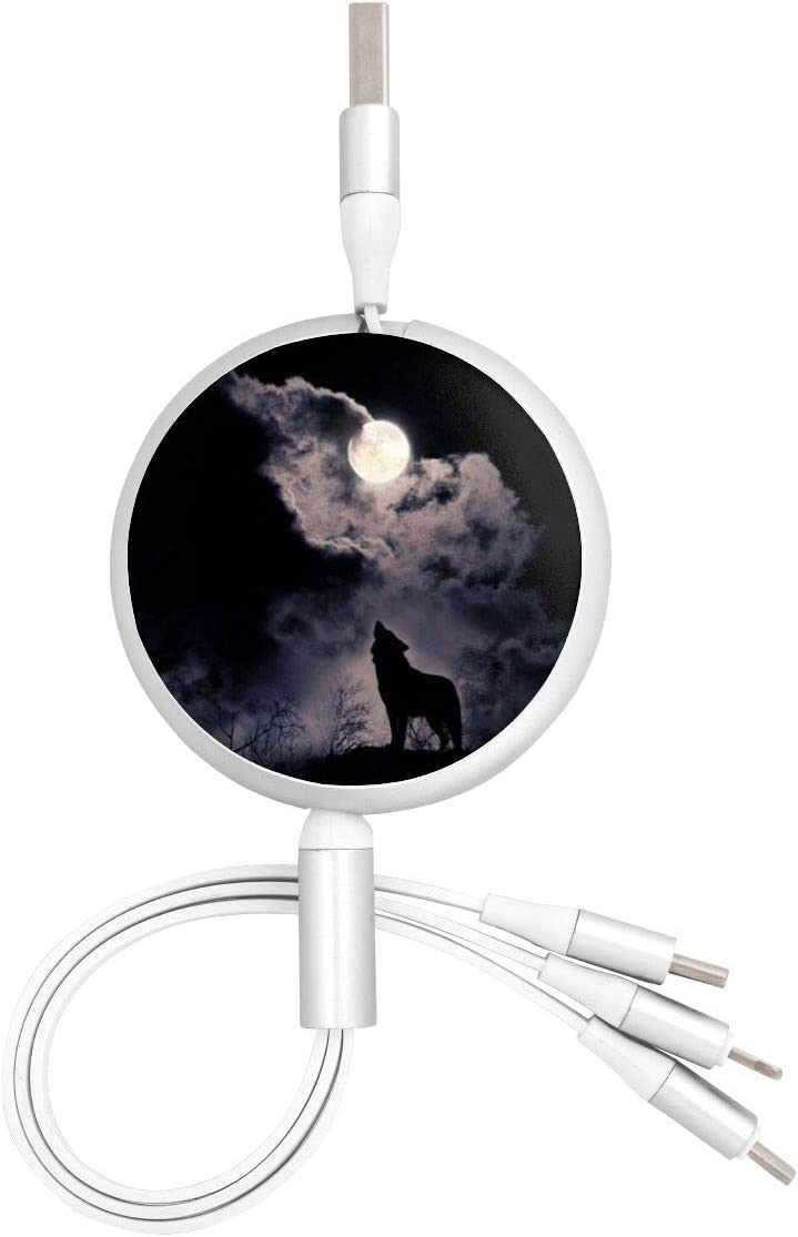 Wolf Spirit USB Charging Cable 3 in 1 Retractable Fast Charger Cord Connector for All Phones with Tablets