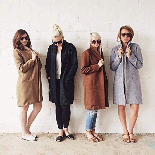 femmes soirée Monochrome Jacket Girls d'automne Longs coat Trench Jacket Manteau Jacket taille poches Jacket Style Grau pour haute Cardigans d'hiver Jacket classiques de Jacket élégant Manteaux avec zB5qwB