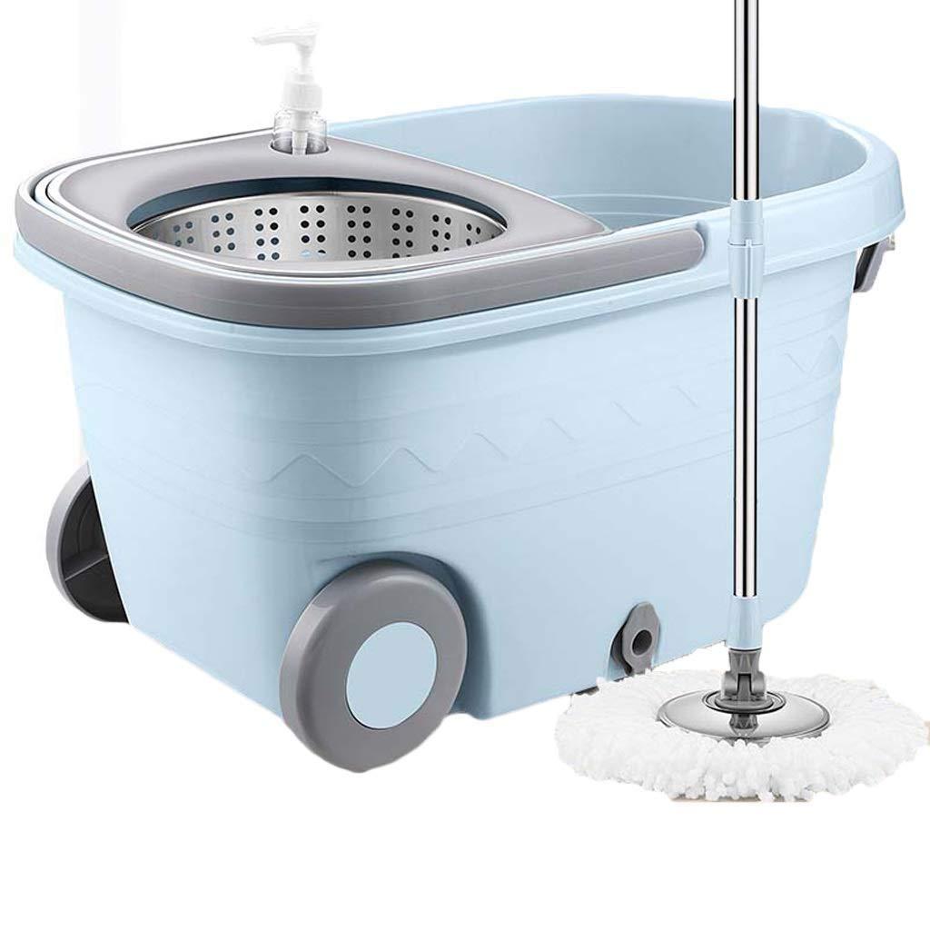 スピンモップバケツセット - 家庭の台所の床の掃除用 - 5つの洗えるマイクロファイバーモップヘッドで濡れた/乾いた家庭用(色:青) (色 : 青) B07RL6DD92 青