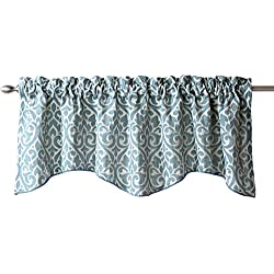 Stylemaster Twill and Birch Bryce Chenille Scalloped Valance with Cording, 55 by 17-Inch, Sea Breeze