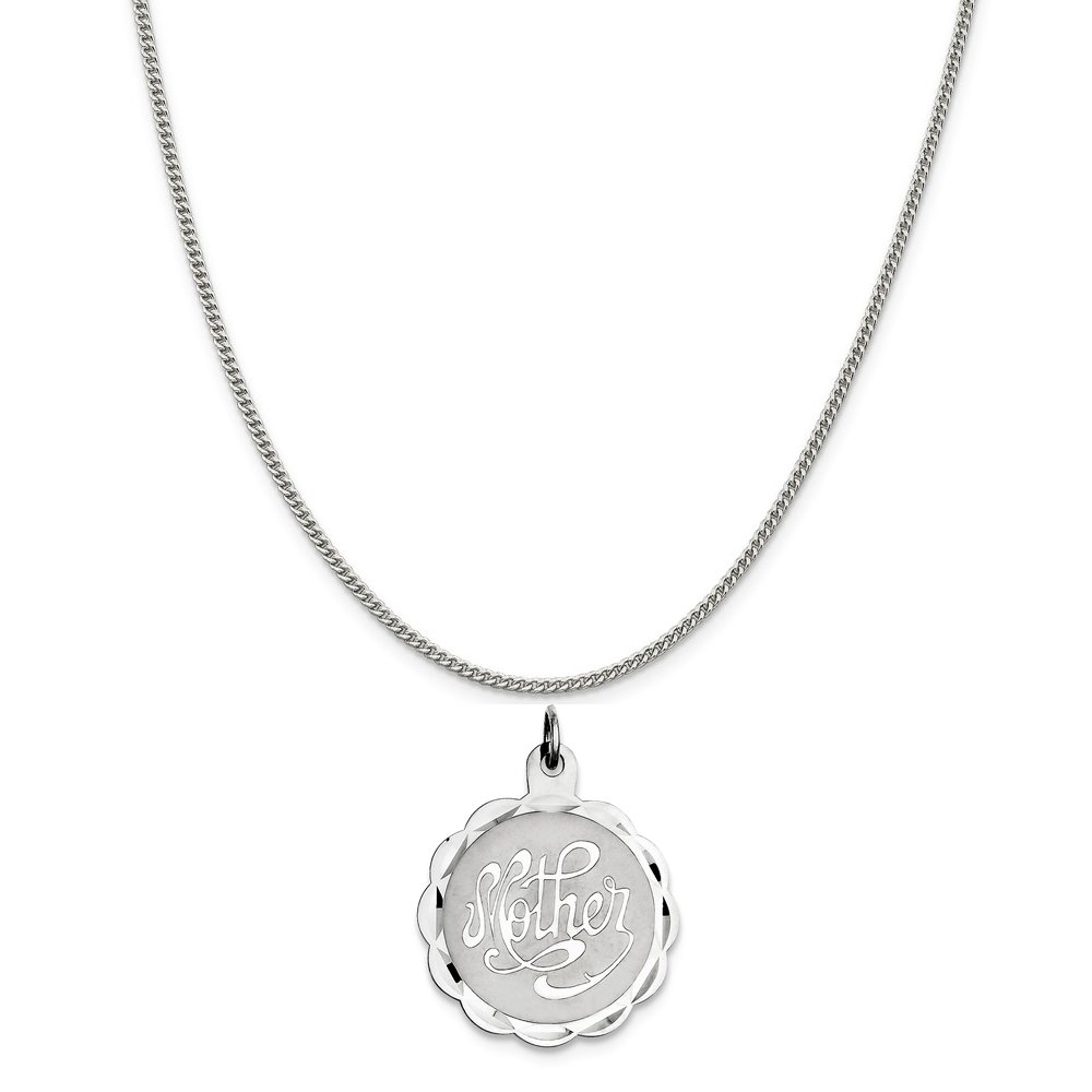 16-20 Mireval Sterling Silver Mother Disc Charm on a Sterling Silver Chain Necklace