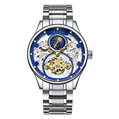 n Phase Automatic Dial Watch Mechanical Tourbillon Waterproof Skeleton Dial Stainless Steel Strap Business Watch T820A,silverandblue ()