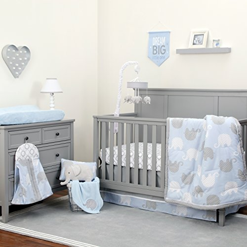 NoJo Dreamer - Blue/Grey Elephant 8 Piece Comforter - 8 Diaper Piece Bag