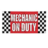 Mechanic On Duty #1 Outdoor Fence Sign Vinyl Windproof Mesh Banner With Grommets - 2ftx3ft, 4 Grommets