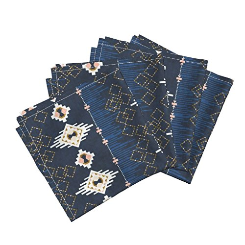 Roostery Native American American Indian Navajo Dream Catcher Navy Southwest Bohemian Organic Sateen Dinner Napkins Dream Catcher (Navy) by Nouveau Bohemian Set of 4 Dinner Napkins by Roostery