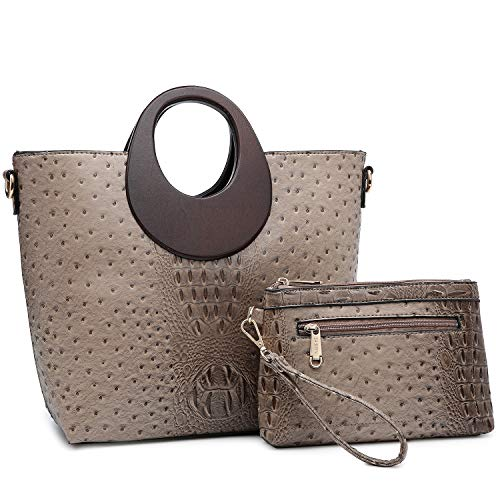 Women's Fashion Ostrich Handbag Chic Round Wooden Handle Shoulder Bag Tote Satchel Purse w/Wallet Kakhi