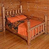 3 Piece Twin Orange Sheet Set Reversible Woodland Camo / Solid Color Design
