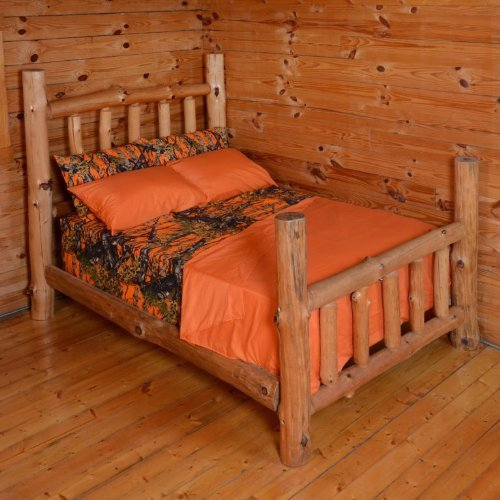 3 Piece Twin Orange Sheet Set Reversible Woodland Camo / Solid Color Design