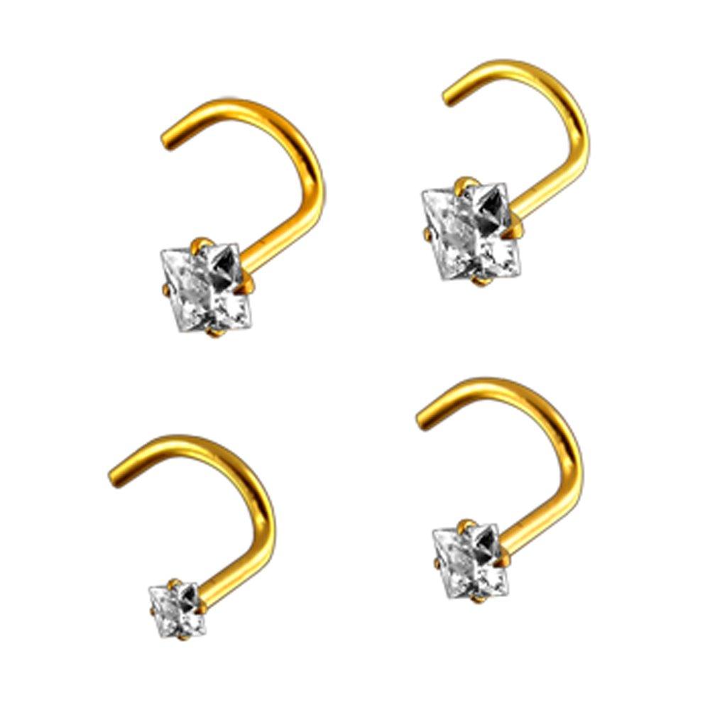 14K Yellow Gold Prong Set Square CZ Stone 20 Gauge Nose Screw Piercing Jewelry AtoZ Piercing ATOZ-MM3-010-SNK41
